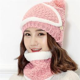 IANLAN Winter Thermal Sets Sombrero con máscara + silenciador Women Knit  Wool Beanie Scarf Juegos de montar a caballo Niñas Caps Neckerchiefs IL00170 b22a46bedb2
