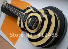 Wholesale Zakk Wylde Emg - Free shipping Wholesale ZAKK EMG pickup Guitar custom shop Zakk Wylde LP custom yellow black Electric guitar with case
