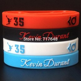 Wholesale silicone wristband printed logo - whole sale1pc Kevin Durant wristband silicone bracelets embossed printed 3D logo rubber wrist bands cuff bangle free shipping