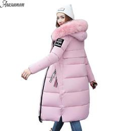 Wholesale Winter Jacket Fur Wadded - Large Fur Collar Winter Parka Women 2017 New Winter Coat Jacket Women Long Slim Thickening Warm Wadded Jacket Female Coats Black