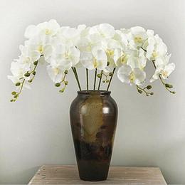 2019 piante artificiali di giglio artificiale 10 Pz / lotto Realistico Farfalla Artificiale Orchidea fiore di Seta Phalaenopsis Wedding Home Decorazione FAI DA TE Fiori Finti spedizione gratuita