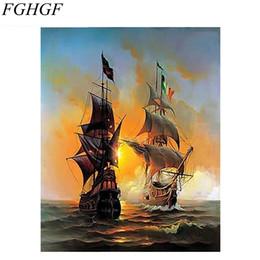 Pintura a óleo vela on-line-FGHGF Seascape Sailing Boat Europa Pintura Da Lona de Arte Pintura DIY Por Números Óleo Sobre Tela Home Decor 40 * 50 cm