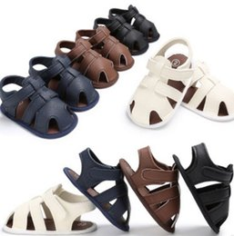 Wholesale Baby Walking Sandals - 2017 New Toddler Infant Baby Boys Summer Crib Walking Sandals Infant New Soft Shoes Clogs 0-18 Months