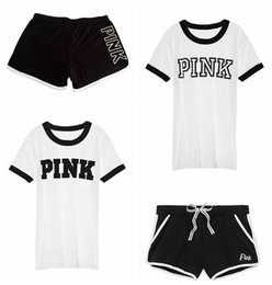 Wholesale t shirt printing girls - Ladies Pink Printed T-Shirts Pink Letter Top T-Shirt+ Sports Pants Girls Casual Short Sleeve Sport Suits Women Tracksuit LJJG30