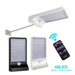 Wholesale pir lighting control - Outdoor Street Waterproof Wall Lights 450lm 48 LED Solar Power Street Light PIR Motion Sensor Light Garden Security Lamp With Remote Control