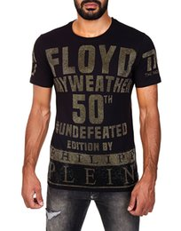 Wholesale Shirts New Brands For Men - 2018 New Arrivals Fashion men brand clothing Floyd Mayweather 50th victory rhinestone T-shirt male top quality 100% cotton T shirt for men
