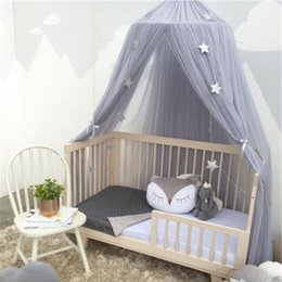 Wholesale Princess Kids Beds - 1PC Circular Grey Canopy Bed Valance Kids Room Decoration Bed Tent Princess Kids Girls Round Mosquito Net