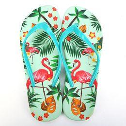813a31e619aa9d Flamingo Slippers Summer Fashion Women s Flip Flops Print Beach Slides for  Lady Girl Shower Room Anti-slip Sandals