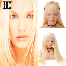 brown remy straight hair Canada - HC Hair Wigs For Women 613 Blonde Lace Frontal Wigs Pre Plucked With Baby Hair Straight Brazilian Remy Human Hair Lace Frontal Wigs
