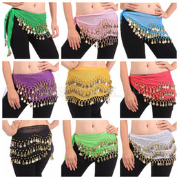 belly dancing decorations Coupons - Belly Dance Skirt Scarf Hip Wrap Belt Chiffon 3 Rows 128 Coins Belt Skirt Party Decoration 200pcs OOA5195