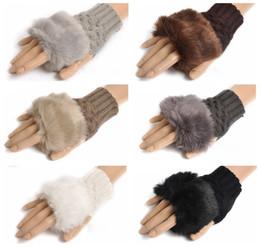 Argentina Guantes de piel de conejo muchacha de las mujeres de punto guantes de invierno Faux Longitud del brazo más cálidos guantes sin dedos al aire libre coloridos los regalos de Navidad Suministro