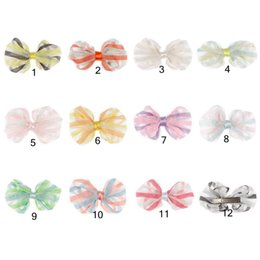 Wholesale Multi Color Baby Yarn - Baby Girls Hairclips Kids Sweet Hair Accessories Summer Net Yarn Bowknot Hair Ornaments 12colors for choose