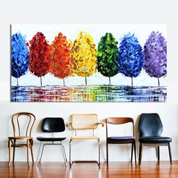Wholesale Rainbow Spray Paint - Wall Art Canvas Oil Painting Rainbow Tree Wall Pictures For Living Room Home Decor No Frame