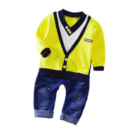 Wholesale Boy Set Fake - Spring New Boy Fashion Suits T-shirt and Pants 2 Sets of Children's Wear Set Fake Two-piece V-neck Cowboy Suit 0-5 Years