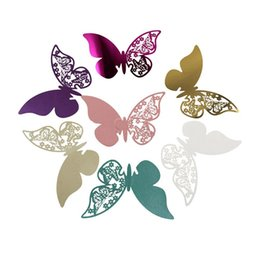 Wholesale table name cards - 100 Pcs Butterfly Wine Glass Paper Cards Escort Cup Name Place Card Birthday Party Supplies Wedding Decoration Table