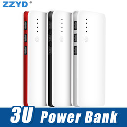 Wholesale battery packing - ZZYD Portable 7500mAh Power bank External Battery Pack 3 USB Phone Charger For iP 6 7 8 Samsung S8 Note 8