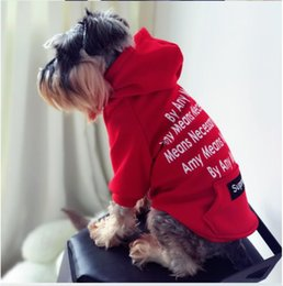 Wholesale Cute Red Winter Coats - Wholesale Pet Dog Hoodies Tide Brand Cute Teddy Puppy Schnauzer Apparel Autumn Winter Warm Outwears Small Dog Sweater Clothing S M L XL XXL