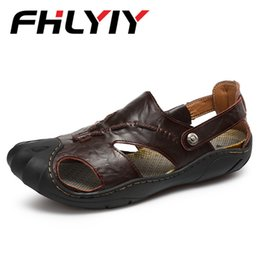 Wholesale Handmade For Spring - Big Size 46 Summer Men Leather Sandals Outdoor Spring Handmade Shoes For Male Breathable Casual Footwear Slip On Walking Sandals