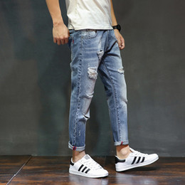 Wholesale Cargo For Mens - 2018 Hole Ripped jeans For man Denim Knee Hole Zipper Fly Biker Mens Harem Jeans Pants Destroyed Pencil Jeans Size 38 40