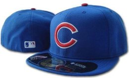Wholesale cub logos - Men's Cubs Royal Blue color on field fitted hat Top Quality flat Brim embroiered Letter Team logo fans baseball Hats cubs full closed caps