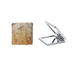 Quadrato tascabile online-Specchio pieghevole portatile da tasca in acciaio inossidabile a doppia faccia quadrato da 6 cm per bambini e bambine