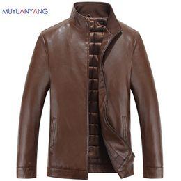 Wholesale Genuine Leather Biker Jacket - Wholesale- New Men Leather Biker Jackets Autumn Winter Mens Leather Jacket Brand Casual Zipper Faux Leather Jacket And Coats Men Clothing