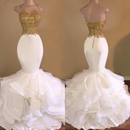 Wholesale sequin tops for girls - Long Prom Dresses 2018 Elegant Mermaid Evening Dresses For Black Girls Style Spaghetti Strap Gold Top White Organza African Prom Dress Party