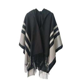 VOGUE hiver femmes manteau ample cardigan tricoté surdimensionné pull comme le cachemire rayé gland à carreaux glands Poncho Cape châle Cape avec capuche ? partir de fabricateur