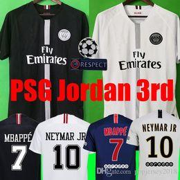 Jerseys de fútbol online-Top Tailândia qualidade AIR PSG JORDAN 3RD third camiseta de fútbol 2019 camisa Paris Saint Germain NEYMAR JR MBAPPE soccer jerseys camisa cavani Survetement futebol kit CHAMPIONS camisa de futebol