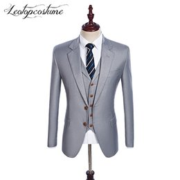 Wholesale Man Light Purple Wedding Vest - Latest Coat Pant Designs Groomsmen Notch Lapel Groom Tuxedos Light Grey Men Suits Wedding Best Man Blazer (Jacket+Pants+Vest)