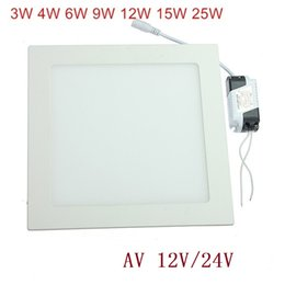 Wholesale Led Ceiling Light 24v - LED Ceiling Panel Light 3W 4W 6W 9W 12W 15W 25W High brightness LED Downlight with adapter 12V 24V indoor Light 1pcs Free Shinp