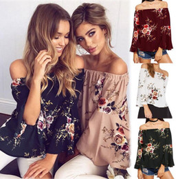 Wholesale Three Quarter Sleeve Floral Blouse - Women Off Shoulder Floral Printed Tops Blouses Summer Flare Sleeve Casual Loose Beach Shirts 8 Colors 10pcs LJJO4135
