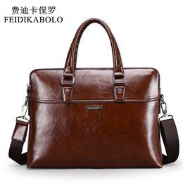 Wholesale Leather Briefcase Laptop - Men Leather Briefcase Bags Business Laptop Tote Bag Men's Crossbody Shoulder Bag Men's Messenger Travel Bags