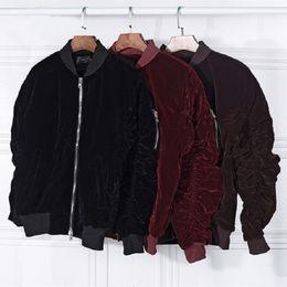 Wholesale Man Strings - New arrival men bomber jacket velvet rubber string long sleeve fear of god coat high street mens winter jackets casaco masculino