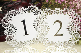 Wholesale Wedding Decorations Paper Laser - New Fashion 10pcs set Wedding Table Number Table Cards Hollow Laser Cut Card Numbers Vintage Wedding Decoration Event Party Supplies