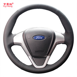 2019 ruote di ford fiesta Yuji-Hong Custodia per volante auto in pelle artificiale per Ford Fiesta 2009-2013 EcoSport 2013 Auto-styling cucita a mano sconti ruote di ford fiesta