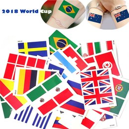 Wholesale Hand Sticker Tattoo - 2018 World Cup National Flag Tattoo Sticker Temporary Body Face Hand Tattoo Adhesive Stickers 6*8cm Brazil Russia France