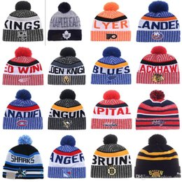 Wholesale Penguin Hat Adult - 2018 New Arrival Beanies LAS VEGAS GOLDEN KNIGHTS Penguins LA kings Blackhawks Bruins Hockey Beanies Knitted Hats Drop Shipping Mix Order