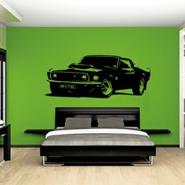 Adesivi di grandi decalcomanie online-Rimovibile Vintage XL Large Car Ford Mustang 1969 Wall Art Decal Sticker Decorazione della casa di arte murale Paper Car Sticker A-101