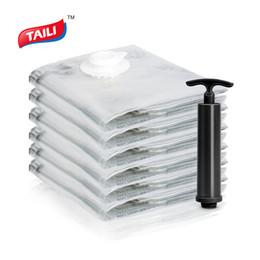 Wholesale pcs value - Super Value Set 6 PCS Vacuum Bag for Clothes with Pump 80*100cm Foldable Storage Bags No Leak Work with all Vacuum Cleaner
