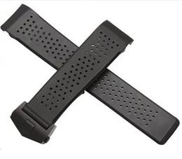 Wholesale Rubber Strap Holes - Replacement Watch band 22mm 24mm New Top grade Black Diving Silicone Rubber Holes Watch Band Strap