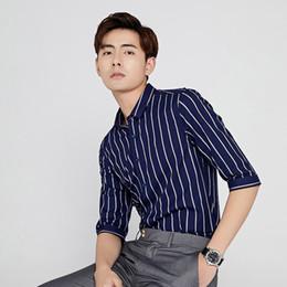 Wholesale Plus Size Vertical - TFETTERS Newest 100% Cotton Men Shirt Half Sleeve Shirt Plus Size Vertical Stripe Regular Fit Summer Casual Clothes For Men