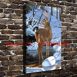 Wholesale Rivers Life - Animal Deer Snow River Landscape,Canvas Prints Wall Art Oil Painting Home Decor 16x24 12x18 (Unframed Framed)