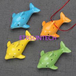 2019 vaso in miniatura bonsai pot all'ingrosso Carino 6 buche ceramica delfino ocarina forma animale educativo musica flauto fascino bambini festa di compleanno regalo favore qw8054