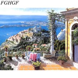 Acrílico pintura paisajes marinos online-FGHGF paisaje marino pintura bricolaje por números pintura acrílica sobre lienzo Cuadro moderno arte de la pared pintura al óleo pintada a mano para la decoración del hogar