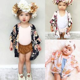 Wholesale Half Sleeves Tops - Baby Girls Caps Poncho with Tassels Black Pink Floral Printed Half Wide Sleeve Spring Summer Thin Tops Outfits 1-5T