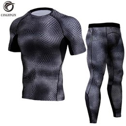 Wholesale yellow skin suit - Running Set Men Compression Shirt+Pants Skin Tights Short Sleeves TShirts Leggings Mens Jogging Suits Gym Fitness 2pcs Sets