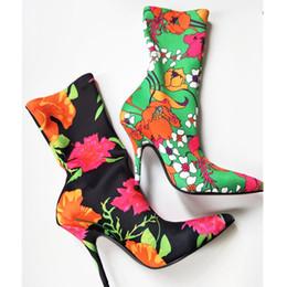 Wholesale Purple Western Boots - Spring autumn Floral purple satin velvet Women Sock Boots Pointed Toe Mid-Calf Boots women High Heels Women Boots Stiletto shoes