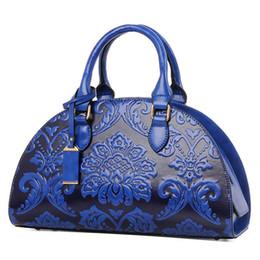 Bolsos de la marca china online-Marcas famosas mujeres bolsos de cuero de estilo chino Vintage flores impresión Shell bolsa de alta calidad bolsos Crossbody para damas