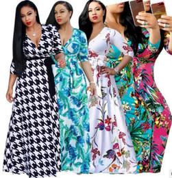 Wholesale long maxi bandage dress - 2018 Women casual dress Fashion floral printing Sexy Deep V beach maxi dress Elegant Long sleeves club bodycon bandage party dress